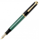 Pelikan Souveran Black Green M400 Fountain Pen, Fine Nib