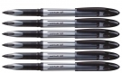 Uniball Air Micro UBA188L Roller Ball Pen, Black, Set of 6 Pens