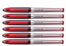 Uniball Air Micro UBA188L Roller Ball Pen, Red, Set of 6 Pens